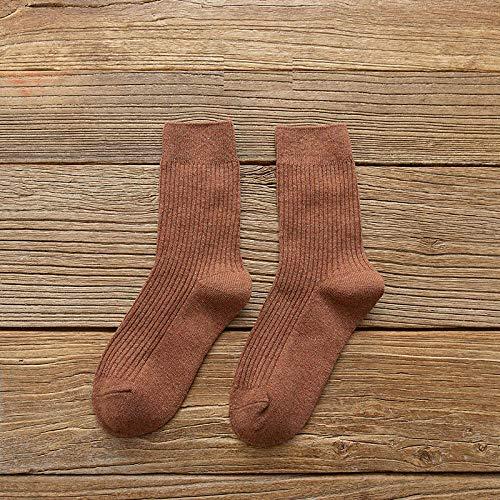 XINDUO Calcetines Termicos Mujer de Invierno,Calcetines de algodón cómodos y versátiles 5pcs-Deep Camel,Calcetines de algodón de Mujer Sencillos y cómodos