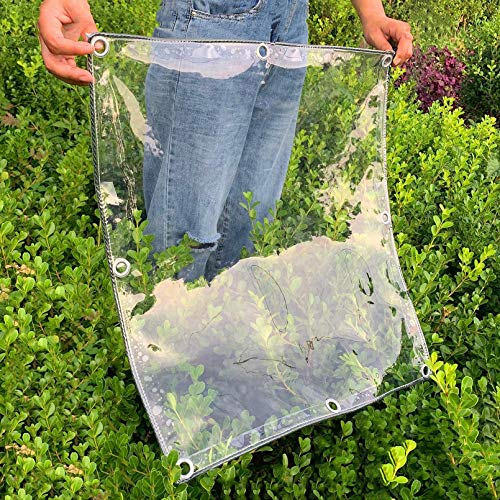 Heavy Duty Waterproof Clear Tarpaulin with Eyelets,0.3mm Transparent PVC Glass See Through Tarp,Rainproof Outdoor Courtyard Plant Canopy Cover,350g/M², Size Can Be Customized(2.1x5m/6.9x16.4ft)