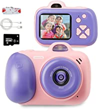 beiens Digital Video Camera for Kids, Selfie Dual Cameras, 2.0 inch HD IPS Screen,800W, 1080P,USB Charge, SD Card Include, Best Birthday Gifts Toys for Girls and Boys (Pink)