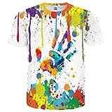 Neemanndy Unisex Colorful Paint Cute Shirt Designer Short Sleeve Mens Shirt, XX-Large