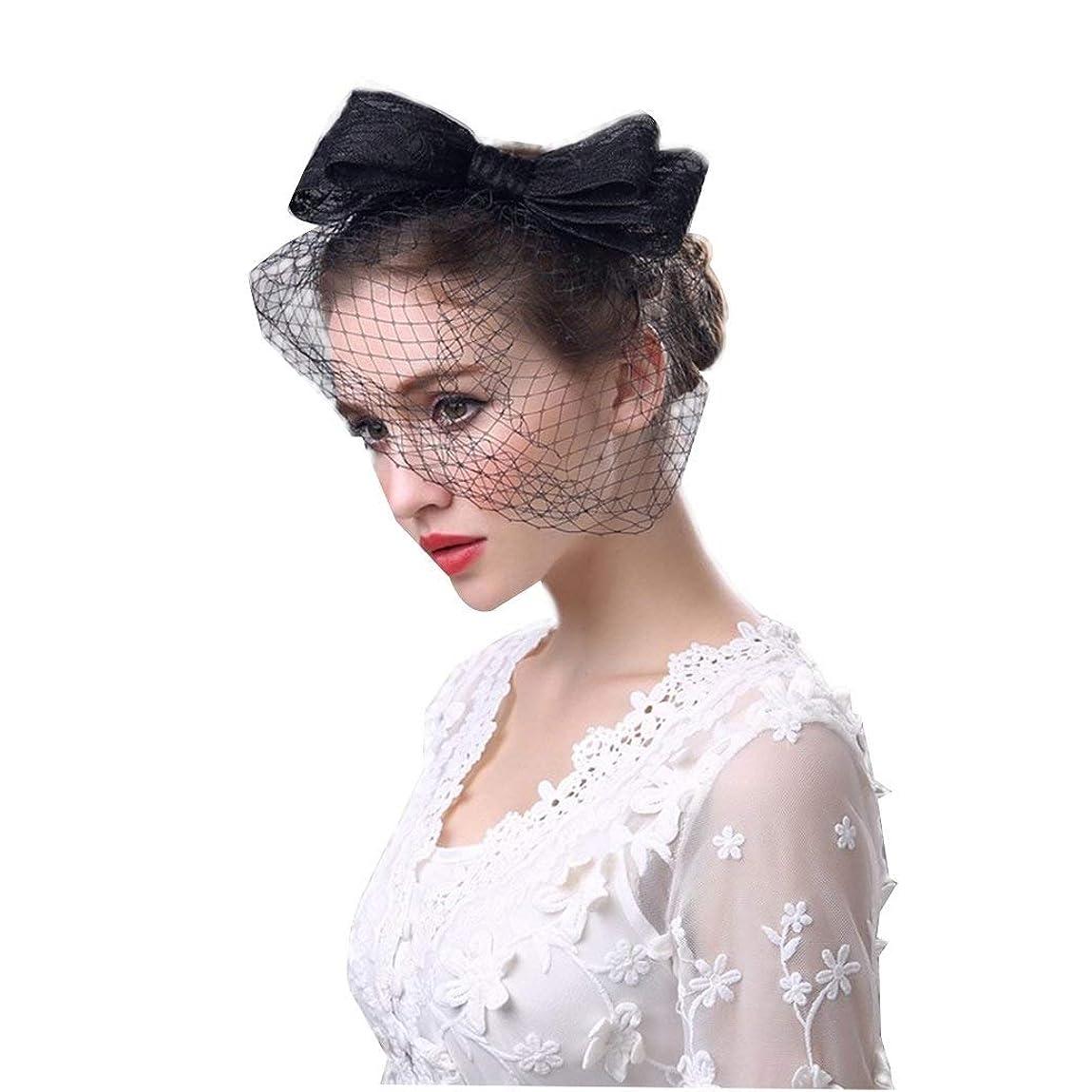 ポジション慣れる必需品ブライダルヘッドドレス、弓帽子ヴィンテージヘッドドレス手作りイギリスファッションレディースリネン帽子フラワーフェザーメッシュベールウェディングティーパーティー