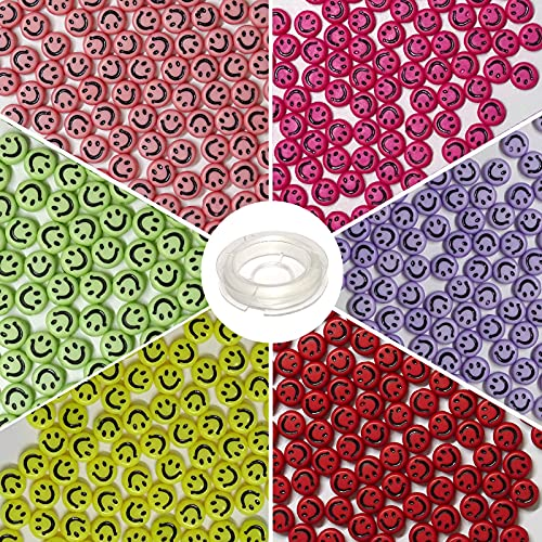 600pcs Acrylic Smiley Beads Happy Face Bead for DIY Jewelry Making Bracelet Earring Necklace Craft Supplies, 6 Colors Mixed, 7 × 4 mm with Elastic String Cords
