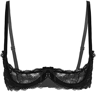 Kaerm Womens Sheer Lace See Through Bustier Non Padded Push Up Underwire Shelf Bra Tops