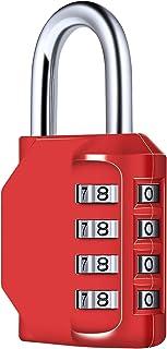Diyife 4-cijferig cijferslot, combinatieslot, hangslot, weerbestendig metaal & geplateerd staal combinatieslot voor schoo...