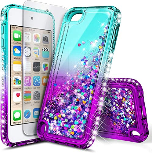 E-Began Glitter Case for iPod Touch 7/iPod 5/6 with Screen Protector, Liquid Floating Gradient Quicksand Bling Diamond Durable Girls Cute Case for iPod Touch 7th/6th/5th Generation -Aqua/Purple
