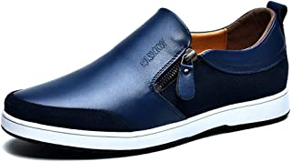 PengCheng Pang Fashion Athletic Shoes for Men Sports Shoes Slip On Style OX Leather Casual Hidden Increased Height Heel Zipper Decor (Color : Blue, Size : 6.5 UK)