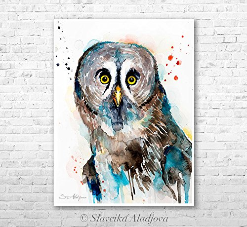 Great grey owl watercolor painting print by Slaveika Aladjova