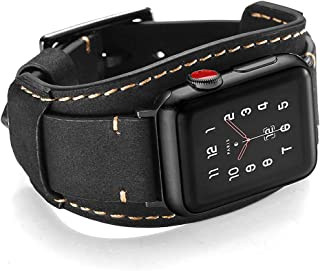 Leotop Compatible with Apple Watch Band 44mm 42mm Men Women Genuine Leather Compatible iwatch Bracelet Wrist Strap Compatible Apple Watch Series 5/4/3/2/1 (Crazy Horse Cuff Black, 44/42mm)