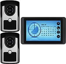 Videodeurbel, Intercom, Deurinvoersysteem, Bekabelde 7-Inch Touchscreenmonitor Videodeurtelefoon, 2 IR-Nachtzichtcamera's ...