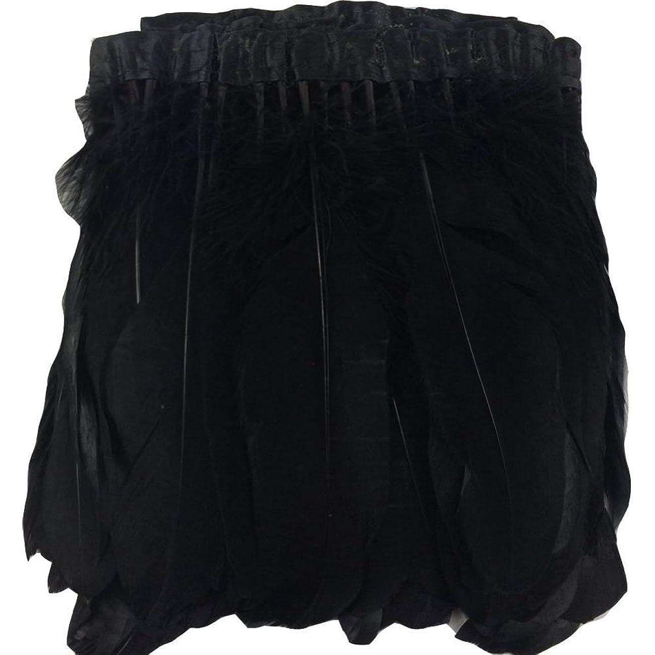 ADAMAI 2 Yards Goose Feathers Trims Fringe DIY Dress Sewing Crafts Costumes Decoration (Black)