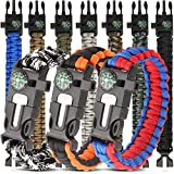 HNYYZL 10 Pack Paracord Bracelet Kit Outdoor Survival Bracelet Camping Hiking Gear with Compass, Whistle and Emergency Tool