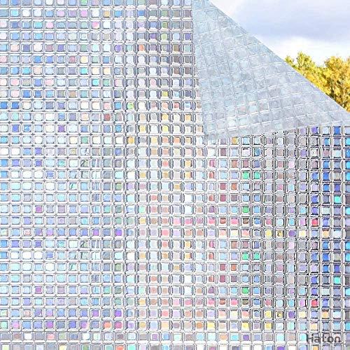 LMKJ Color 3D sin Pegamento decoración estática Ventana de privacidad vitral película de Arco Iris película Anti-Ultravioleta Pegatina de Vidrio A8 40x200cm