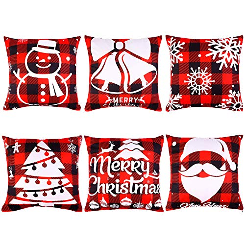 Aneco Pack of 6 Christmas Pillow Covers Red and Black Buffalo Plaid Pillowcases Decorative Throw Pillow Covers for Christmas Decoration, 18 x 18 Inches