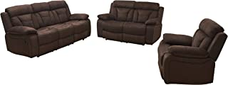 Betsy Furniture 3-PC Microfiber Fabric Recliner Living Room Set in Brown, Sofa + Loveseat + Chair, Pillow Top Backrest and Armrests 8005-321