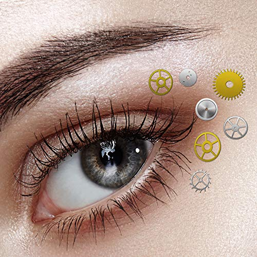 About 200 Pieces Steampunk Eye Decals Gears Gothic Eye Decals with Tweezer for Halloween Costume Eye and Nail Decoration