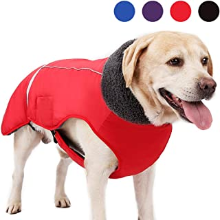 UPHAN Dog Cold Weather Coats for Small Medium Large Dogs Outdoor Indoor Activities-Warm Dog Winter Clothes Jackets - Waterproof Windproof Reflective Retro Style Dog Vest