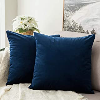 MIULEE Pack of 2 Velvet Pillow Covers Decorative Square Pillowcase Soft Solid Cushion Case for Sofa Bedroom Car 24 x 24 Inch 60 x 60 cm Dark Blue