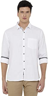 CAVALLO by Linen Club White Checked Casual Regular Fit Linen Shirt for Men