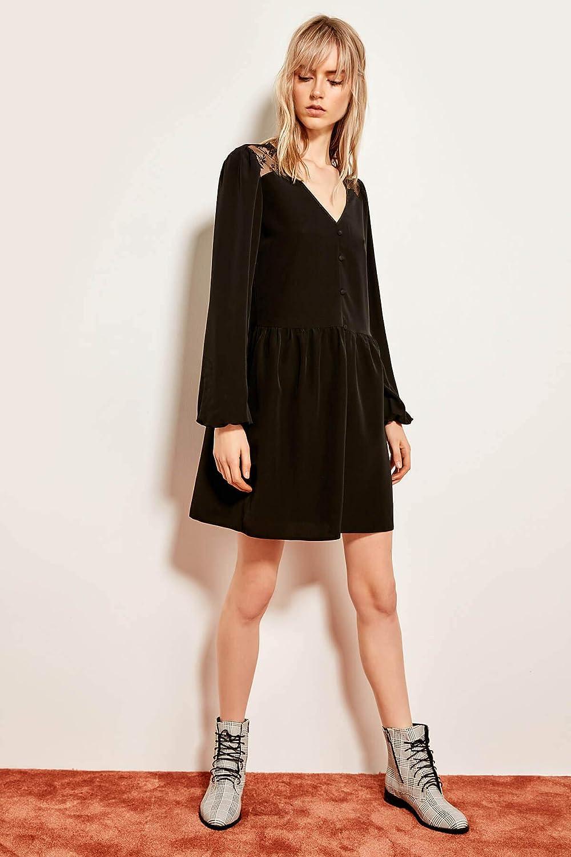 GPZLYQ Neue Art und Weise Elegantes dünnes Sitzqualitts beilufiges schwarzes Knopf-Detail-Kleid 19LJ0172