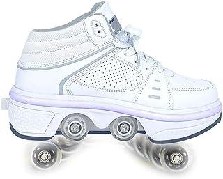 HANHJ Automatiska promenadskor osynliga remskivskor skridskor rullskor män och kvinnor dubbel rad LED deformerade hjul skr...