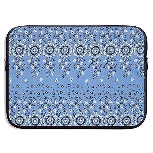 Blauwe traditionele kunstbloemenboeket 15 inch laptop-hoes-zak-beweegbare ritssluiting-laptop-tas-tablet-tasje