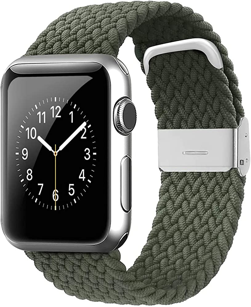 WZS Adjustable Extra Length Nylon Braided Solo Loop Watch Band Compatible with Apple Watch,Stretchable Elastic Wristband for Series 1/2/3/4/5/6/SE