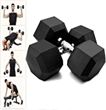 Fun1980s 5-50 Pounds Hex Rubber Dumbbell with Metal Handle for Strength Training, Weight Loss, Workout Bench, Gym Equipment, and Home,Heavy Dumbbells Set of 2 (5lb,10lb,20lb,30lb,50lb)