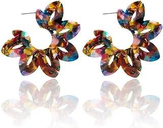 متعدد الألوان الراتنج مفرط زهرة لوتس كبيرة الأقراط للنساء الأزياء والمجوهرات