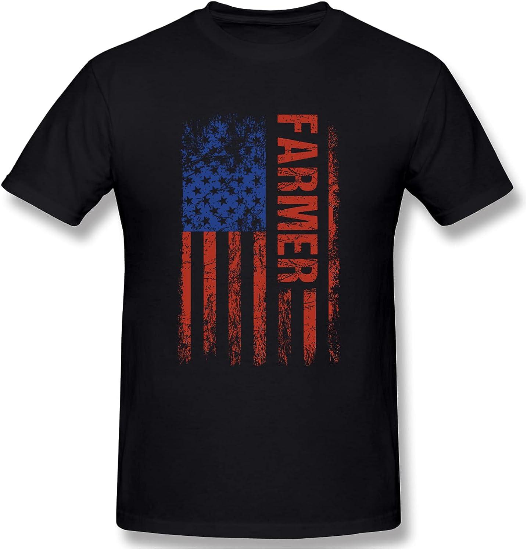 Yuanquanhengshou USA Flag Farmer Men's T-Shirts Short-Sleeve Crew Neck Shirts Classic Tee Casual Shirt