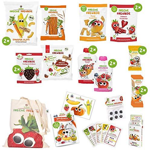Freche Freunde Reise-Paket für lange Reisen mit Kindern, Bio Kindersnacks aus Obst & Gemüse, ohne Zuckerzusatz, für Kinder & Babys ab 1 Jahr plus Freche Freunde Quartett