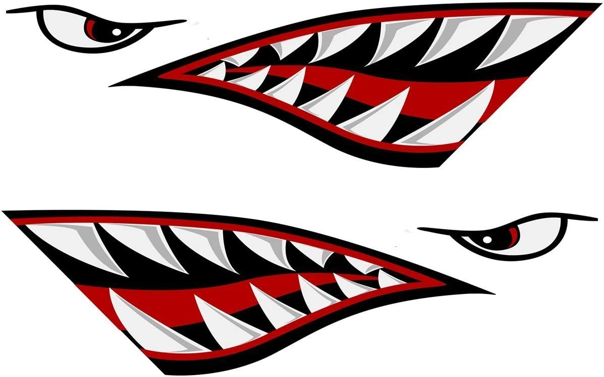 Left and Right Big Set Shark OFFer Now on sale Mouth Decals Teeth Sticker Fishing