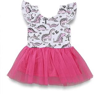 Infant Toddler Kids Baby Girls Summer Dress Dinosaur Sleeveless Tutu Skirt Clothes Set