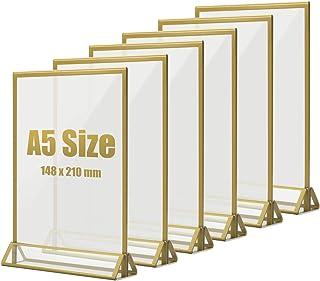 TOROTON A5 Présentoir de Table, Bordure Dorée Acrylique Transparent Double D'annonce Affichage, Support pour Menus - Lot d...