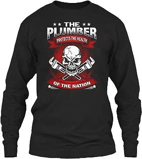 The Plumber Protects The. Long Sleeve Tshirt - Gildan 6.1oz Long Sleeve Tee