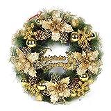 HARVESTFLY Weihnachtskranz Türkranz, für Deko, Weihnachten, ca. 40 cm, Gold