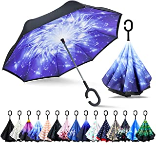 ZOMAKE Double Layer Inverted Cars Reverse Folding Umbrella UV Protection Windproof Large Big Straight Umbrella with C-Shaped Handle Meteor
