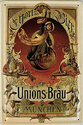 Unions-Bräu München Export-Bier Blechschild, 20 x 30 cm
