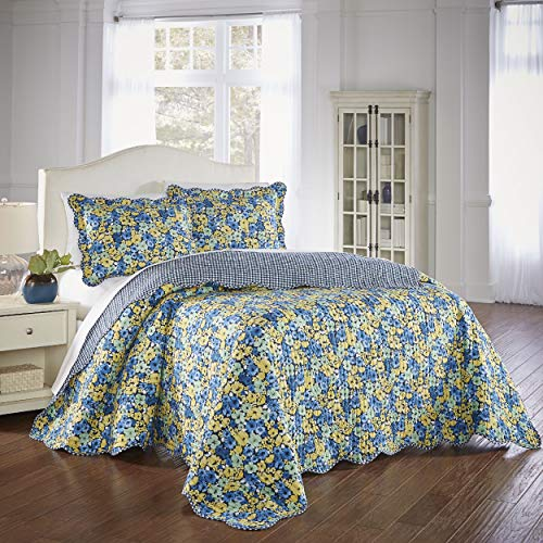 WAVERLY Shi Blue with 2 Reversible Decorative Shams, King,...