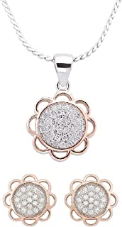 Izaara 92.5 Sterling Silver Pendant & Chain With Stylish Latest Design Earrings Gift for Women & Girls | Party Occasional Daily Wear