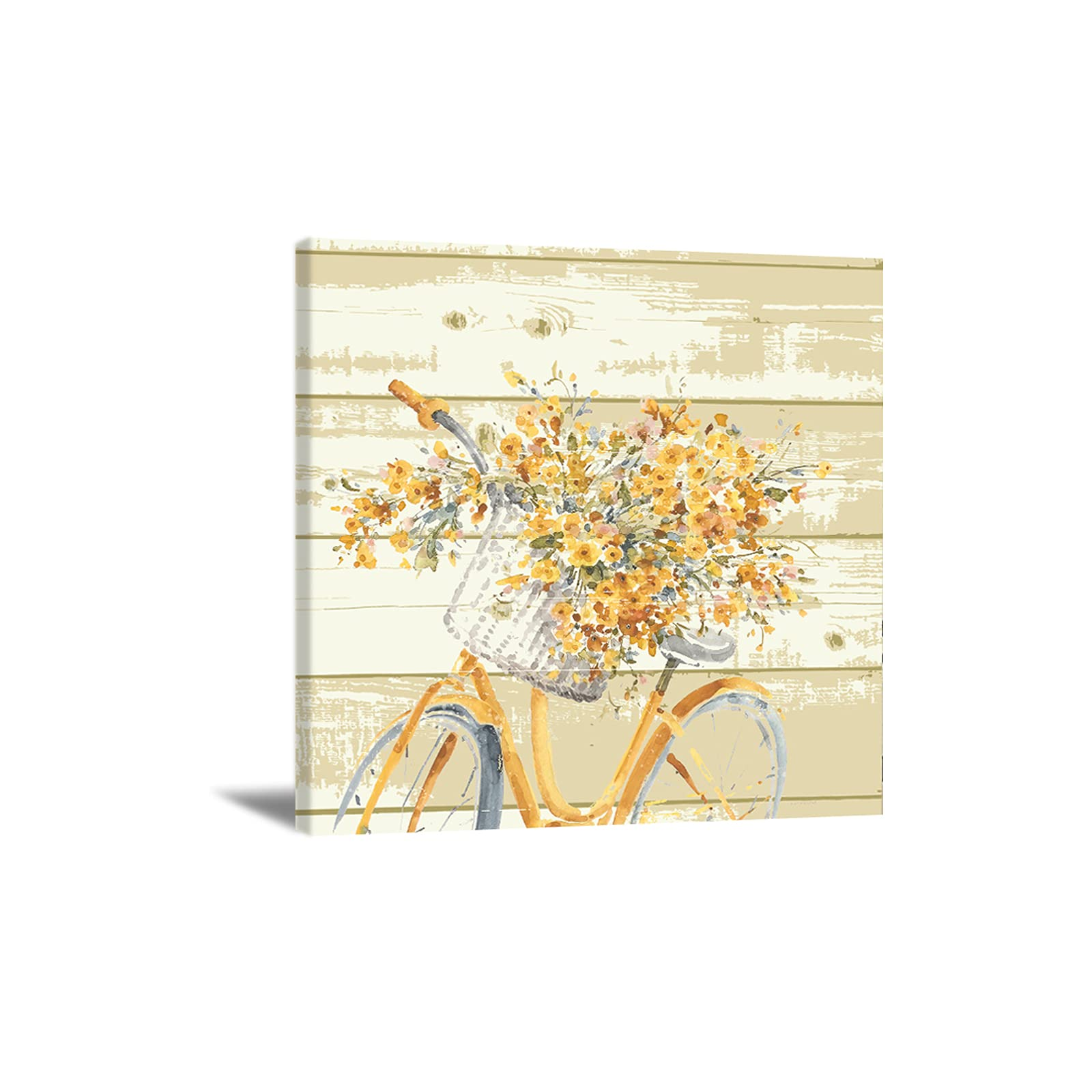 Retro Bicycle Canvas Wall Art Yellow Flower Wood Board wall Art Bicycle Basket Flower Wall Art Modern Flower Wall Art Bathroom Decor for Kitchen Dining Bedroom Home Office 12x12inch No-frame