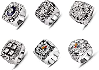 AJZYX 6Pcs/ Set Pittsburgh Steelers Super Bowl Championship Replica Ring Collectible for Fans Without Box Size 9-12