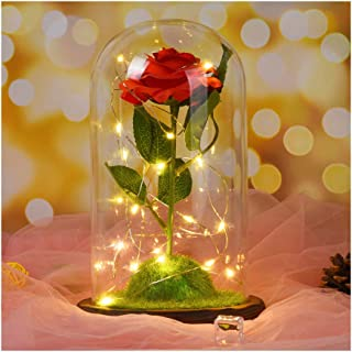 Kuhxz Stylish Immortal Rose Micro Landscape, Romantic Simulation Flower with Glass Shade Led Light, Beautify Your Table (Size:16.5×16.5×26.5cm/6.5×6.5×10.5inch, Red)