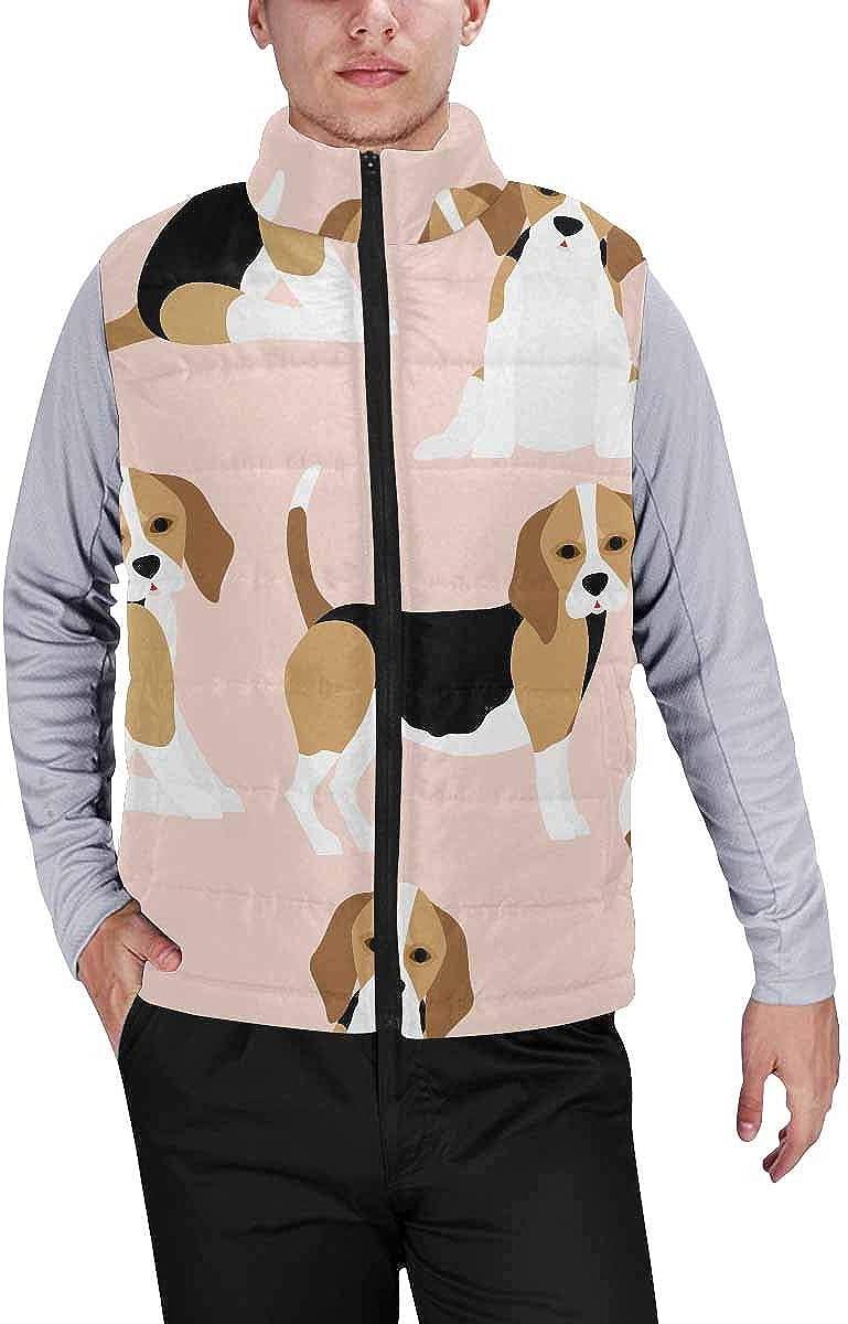 InterestPrint Men's Lightweight Outwear Vest for Hiking, Fishing Baseball on the Fake Green Grass