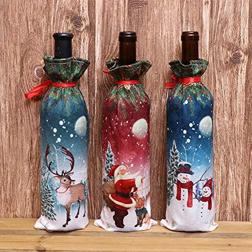 Knowled - Manta para botella de vino de Navidad, decoración de Papá Noel, muñeco de nieve, ciervo, ropa, bolsos, regalo para la casa, cocina, mesa de fiesta