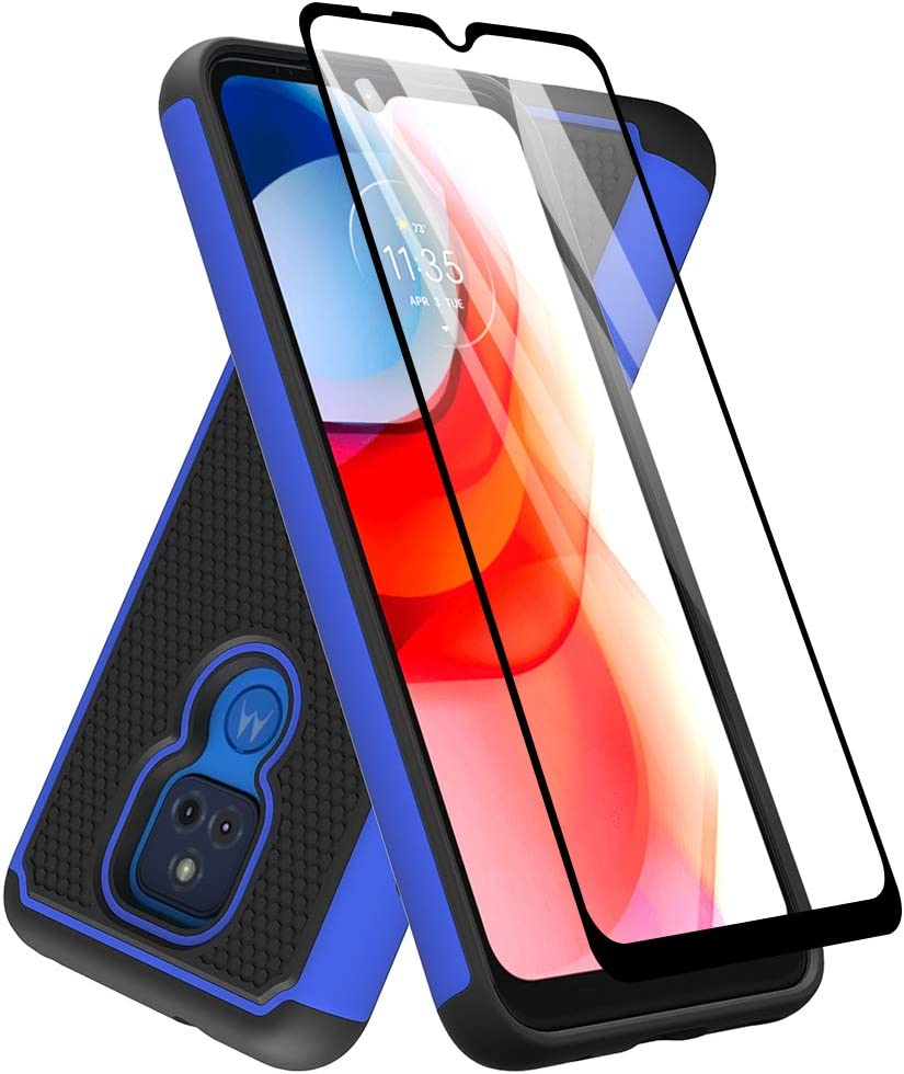 Dahkoiz Case for Moto G Play 2021 Case, Motorola G Play Case with Tempered Glass Screen Protector, Durable Defender Armor Cover Sturdy Protective Phone Cases for Motorola Moto G Play 2021, Blue