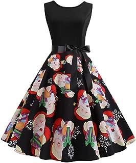 Dunacifa Womens Christmas Print Swing Dress O-Neck Sleeveless Santa Claus Zipper Hepburn Party Dress