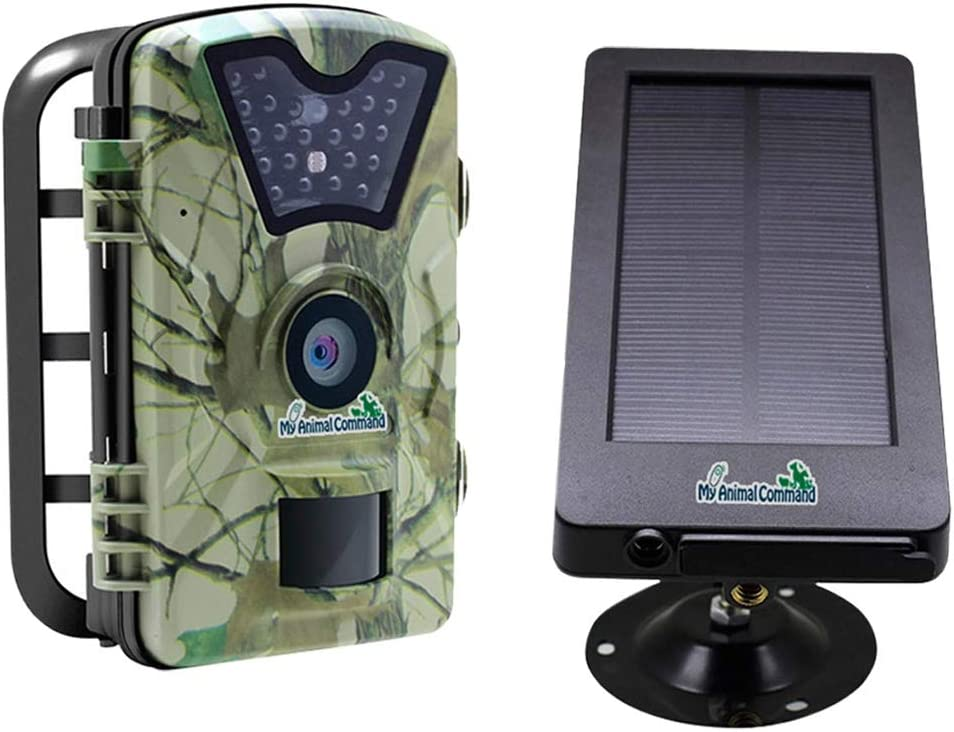 My Animal Command Powered Solar Trail Camera 12MP Game Time Lapse Cam with Night Vision Motion Activated, IP66 Waterproof 1080p Spy Outdoor Deer & Wildlife Hunting. Camera Solar Power Pack Bundle