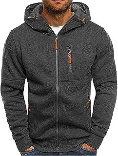 PPPPA heren sweatjack met capuchon slim fit modern hoodie vest lange mouw heren zwart casual capuchon heren zip hood zweet...