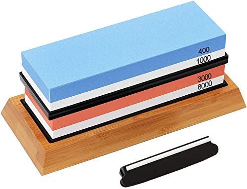 Knife Sharpening Stone Set, G.a HOMEFAVOR Premium Whetstone Sharpener Kit, 4 Side Grit 400/1000 3000/8000 Water Stone, Non-slip Bamboo Base and Angle Guide