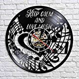 wtnhz LED-Keep Clam and Love música Reloj de Pared diseño Moderno Nota Disco de Vinilo Reloj de Bolsillo decoración Hecha a Mano